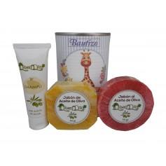 Lata de cosméticos con champú, jabón artesano Pomelo y jabón con esponja para detalles de invitados