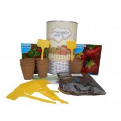 Kit de cultvo con semilleros, tierra turba, semillas tomate Cherry, fresones y marcaje de semilleros