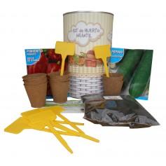 Kit de huerto infantil con semilleros, tierra turba, semillas pepino, semillas pimiento y marcaje de semilleros