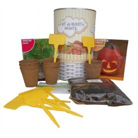 Kit de huerto infantil con semilleros, tierra turba, semillas Eneldo, semillas Calabaza y marcaje de semilleros