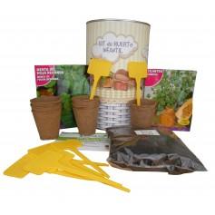 Kit de huerto infantil con semilleros, tierra turba, semillas Cilantro, semillas Menta y marcaje de semilleros