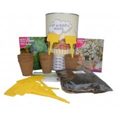Kit de huerto infantil con semilleros, tierra turba, semillas Manzanilla, semillas Menta y marcaje de semilleros