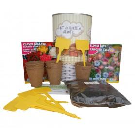Kit de huerto infantil con semilleros, tierra turba, semillas clavel gigante, semillas ramos secos y marcaje de semilleros