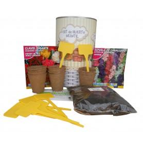 Kit de huerto infantil con semilleros, tierra turba, clavel gigante, Espuela de Caballero y marcaje de semilleros