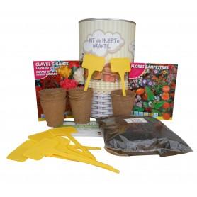 Kit de huerto infantil con semilleros, tierra turba, clavel gigante, flores secas y marcaje de semilleros