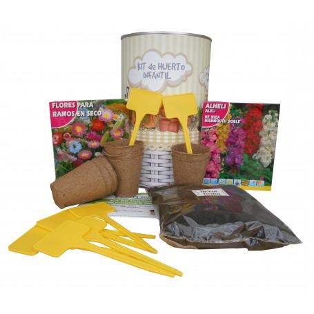 Kit de huerto infantil con semilleros, tierra turba, flores para ramos secos, Alheli y marcaje de semilleros