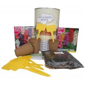 Kit de huerto infantil con semilleros, tierra turba, Espuela de Cabellero, Alheli y marcaje de semilleros