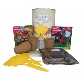 Kit de huerto infantil con semilleros, tierra turba, Flores secas, Petunia y marcaje de semilleros