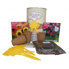 Kit de huerto urbano infantil con semilleros, tierra turba, Guirasol, Petunia y marcaje de semilleros