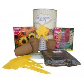 Kit de huerto urbano infantil con semilleros, tierra turba, Girasol, Alheli y marcaje de semilleros