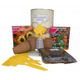 Kit de huerto urbano infantil con semilleros, tierra turba, Girasol, ramos secos y marcaje de semilleros