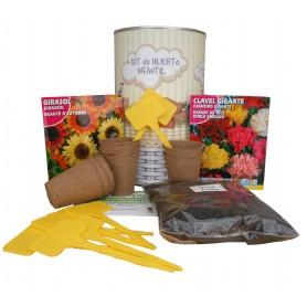 Kit de huerto infantil con semilleros, tierra turba, Clavel Gigante, semillas Girasol y marcaje de semilleros