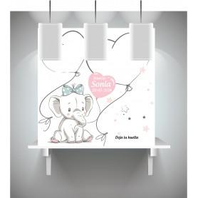 Lienzo de huellas y de firma para bautizo con dibujo elefante lazo