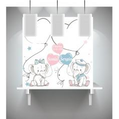 Lienzo de huellas y de firma para bautizo con dibujo elefantes mellizos