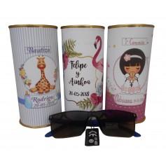 Gafas de sol unisex en lata personalizada para detalles de invitados