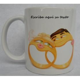 Taza o Mugs personalizado boda anillos.