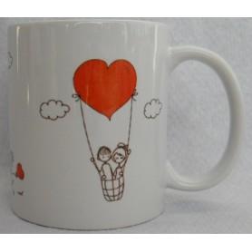 Taza San Valentín. Monigotes.