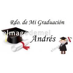 Etiqueta graduacion con niño