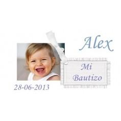Etiqueta con foto Bautizo niño