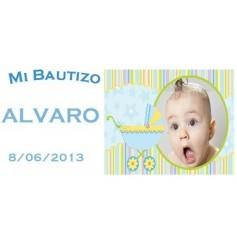 Etiqueta foto Bautizo unisex carrito
