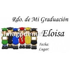Etiqueta graduación grupo niños