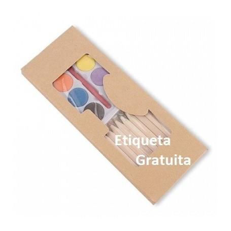 Set de 10 lapices color mas acuarelas con etiqueta personalizada