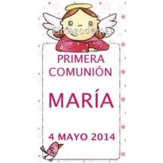 Etiqueta comunion angelito niña