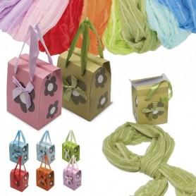Pashminas para regalar en cajita con forma de bolsa