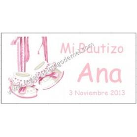 Etiqueta Bautizo patucos rosas