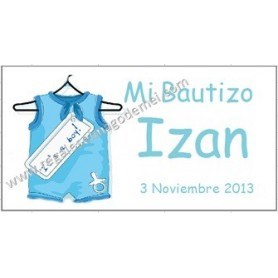 Etiquetas Bautizo body azul o rosa