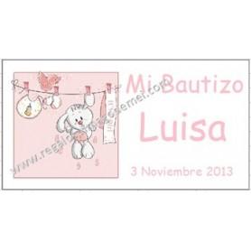 Etiqueta Bautizo conejita colgada rosa
