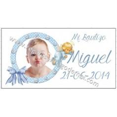 Etiqueta Bautizo circulo azul angel