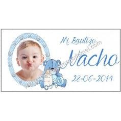 Etiqueta Bautizo peluche azul y botones