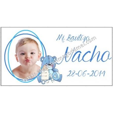 Etiqueta Bautizo peluche azul