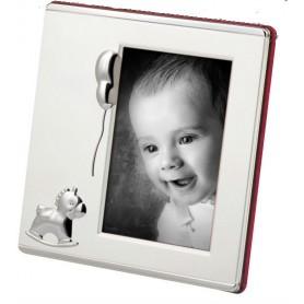 Portafotos bautizo plateado bebe