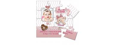 Invitaciones o recordatorios de Bautizo o Baby Sshower en puzzle
