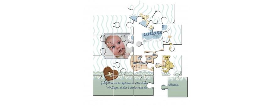 Recordatorios o invitaciones Bautizo Puzzle